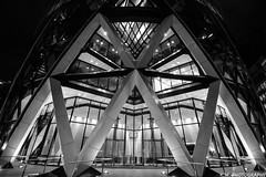 Gherkin Entrance (Kieran J Williams) Tags: angle architecture abstract view viewpoint colour color composition comment canon camera contrast cold colors colours photo photography perspective priority pattern light like life landscape lens lights low lines london leadinglines black blackandwhite monochrome gradient white sky speed shutter shadow saturate silhouette skyline saturation