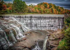 Triphammer Falls (donnieking1811) Tags: newyork ithaca triphammerfalls waterfalls fallfoliage autumn trees colorful outdoors sky clouds hdr canon 60d photomatixpro