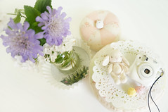 Cutesy n Pretty Things (little ︎♥ lovelies) Tags: littlelovelies handmade handcrafted plush doll dolly dollhouse miniatures little bunny rabbit vintage lace silk tie scarf sanx sumikkogurashi camera flowers