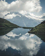 Reflect yourself (noberson) Tags: reflection mountain lake grindelwald first bachalpsee switzerland hiking clouds summer