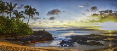 Secret Cove Maui (Lake Vermilion1) Tags: sunset beach sun ocean waves rocks beautiful sand panorama surf hidden tropical scenic intimate secret cove panoramic hawaii maui makena paako nikond810 manffroto reallyrightstuff pacific
