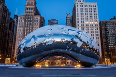 The bean (selo0901) Tags: snow sunrise chicago cloudgate thebean