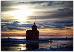 Layer Cake Sunset - Explore - 4/6/17 (leapinlily) Tags: sunset lakemichigan bigredlighthouse hollandstatepark channel silhouette
