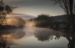 Golden Dawn (MarkWaidson) Tags: river avon sunrise peaceful mist golden reflection trees worcestershire