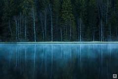 tranquility (yves_matiegka) Tags: lake forest reflection mist dawn jura switzerland etangdelagruere saignelegier