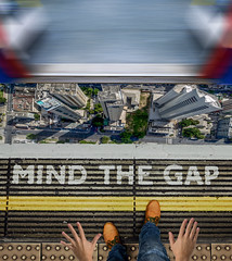 Mind the Gap (Lightcrafter Artistry) Tags: subway london travel train door england mindthegap underground station urban uk greatbritain city photoshop composite collage tube londontube