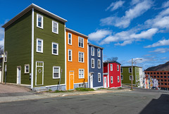 Jelly Bean Row, St. John's Newfoundland (Brian Krouskie) Tags: row house jelly bean st johns newfoundland bright colour architecture blue sky clouds street road outdoor building