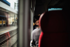 girl on train (ewitsoe) Tags: travel train ewitsoe erikwitsoe canon eos5ds 50mm 14 window reflection woman female passengers students traveling work ride polska poland poznan visit tet test light