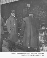 Couldon and Wendt News Stand  N. Pearl and state circa  1903  albany ny (albany group archive) Tags: early 1900s