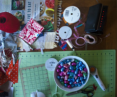 worktable (dotintime) Tags: work table cut sew align measure snip fabric string cookbook clock scissors graph scale ruler ribbon seam ripper rotary blade dotintime meganlane