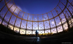 Temple Henge (john&mairi) Tags: temple gasworks gasometer anniesland glasgow night nighttime nocturnal nightsky coalgas figure me moon shadow ancient alignment archeoastronomy framework urbex derelict abandoned raven canon 815mm fisheye jupiter