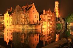 Bruges night reflections (Steve M Photography) Tags: bruges belgium architecture twilight reflections reflectionsinwater waterreflections historic canal night longexposure pretty europe tourism vacation holiday citybreak culture flanders gastronomic gastronomique atmospheric medieval unesco brightlights floodlit brugge heritage dijvercanal groenereicanal
