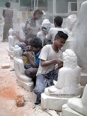 Artisans Sculpting Faces on Buddha Statues in Mandalay, 2016 (deemixx) Tags: myanmar burma mandalay artisans sculptors buddha icon iconography worksafety hazardouswork