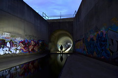 Go In HUGE Drains... (JAZ-art) Tags: burp big underground round pipe pipes huge massive storm water drain drains draining tunnel tunnels manmade retarding basin melbourne concrete reflection silhoulette jazart jaz art grafitti walls dam urban urbex explore explorer exploring exploration trespassing