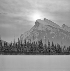 (Zeb Andrews) Tags: hasselblad500c film mediumformat 6x6 bw monochrome mtrundle banff alberta canadianrockies canada square fujiacros100 winter snowscape mountain hasselblad