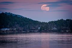 Cold Moon Rising (BurnsRon) Tags: christmas coldmoon fullmoon lake landscape moonrise hotspringsvillage