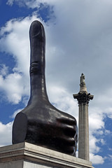 Skywards Trafalgar Square (matthewjoldfield) Tags: london plinth thumbsup nelsonscolumn monument publicart statue clouds stone pointing digit skywards vertical two tourist oldandnew
