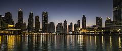 Dubai Skyline at night (Tony Calvert) Tags: dubai uae middleeast skyline sunset dusk buildings reflections