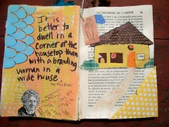 Brawling Woman (artsychicksw) Tags: woman art altered painting book mixed women media journal acrylics journaling