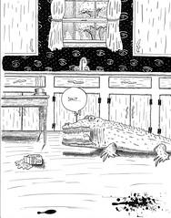 Don't cry crocodile tears over spilt milk... (DWKNY) Tags: art strange milk tears comic drawing odd crocodile spilt penandink