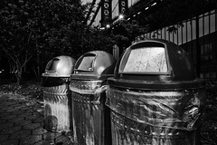 (Stevelb123) Tags: newyorkcity longexposure nightphotography newyork brooklyn manhattan dumbo manhattanbridge trashcans recycling brooklynbridgepark