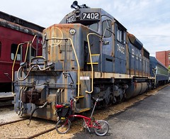 Big and little (Cody Wms) Tags: history cycling trains olympus baltimore americana omd brompton railroading bomuseum