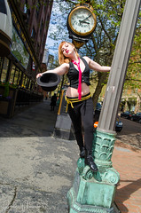 026 (Fearless Zombie) Tags: seattle fashion washington spring punk boots tie bowlerhat april wa vest pioneersquare leggings pinktie combatboots flashmafia clockworkorangefashion