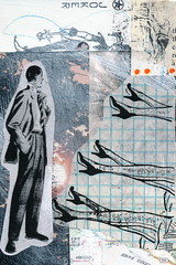 Business or Pleasure? (GallivantingGirl) Tags: art collage paper newspaper artwork mixedmedia vintageephemera