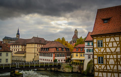 Altstadt Bamberg Germany (mbell1975) Tags: old cloud fall river germany bayern deutschland town cloudy eu bamberg german altstadt oldtown deutsch bayer regnitz