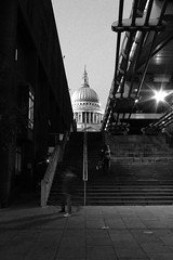 St Pauls 1 (R Watabe) Tags: life road street city uk bridge people blackandwhite bw london silhouette architecture modern night stairs buildings evening europe shot dynamic britain steps stpauls millenium architectural foster figure milleniumbridge wren renaissance interaction fosterchristopher normanfosternorman