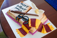 Harry Potter Cake (Ed O_o) Tags: birthday yellow cake scarf gum happy glasses book golden chocolate burgundy wand paste harry potter edible snitch fondant gryffindor