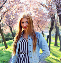 Blue eyes (Alexa Pascu) Tags: flowers blue light summer woman sun green girl fashion hair spring eyes warm blossom shy blonde feminity