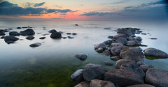 HDR seascape with rocks and clouds