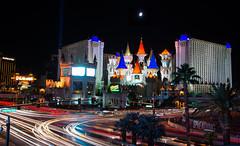Excalibur Casino, Las Vegas (Mqrko_) Tags: light castle car night lasvegas casino trail strip mandalaybay luxor excalibur tropicanaave