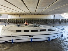 Quiet Light (LookaroundAnne) Tags: bridge river boat norfolk yarmouth greatyarmouth cruiser broads norfolkbroads thebroads riverbure peopleandpaths