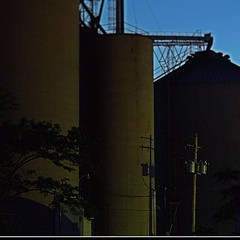 Route 66. Shirley, IL (Ronald (Ron) Douglas Frazier) Tags: nightphotography rural illinois beans corn route66 midwest farming elevator harvest 66 shirley agriculture grainelevator smalltown cornbelt tomronworldwide