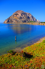Rock Water (splinx1) Tags: ocean california light sea sky color green art nature composition bay aqua eau pentax scenic iceplant handheld centralcoast morrorock hdr seafig pentaxkx photomatixpro pentaxart morrobaycaliforniausa smcpdal1855mmf3556al