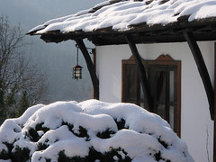Winter (livingbulgar) Tags: wood old travel blue roof winter red vacation brown white house mountain snow detail building tree green tourism home window nature lamp stone architecture rural town wooden europe european village view traditional hill rustic culture reserve tourist structure architectural