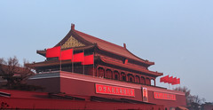 Forbidden City during cold and windy December morning, Beijing China (Maria_Globetrotter (not globetrotting)) Tags: world china city morning travel blue winter red portrait heritage tourism beautiful contrast canon wow wonderful photo site amazing interesting asia day political capital chinese beijing windy ciudad pic landmark visit tourist unesco clear forbidden hour mao banners incredible kina blauwe cina impressive cultural peking chine attraction heure bleue patrimoine bl blaue prohibida welterbe staden uu