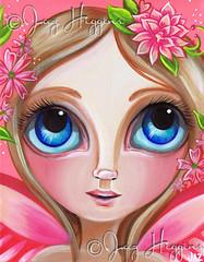 """Pretty Pink Flower Fairy"" Painting by Jaz Higgins (Jaz Higgins) Tags: pink blue girls flower cute eye art girl coral fairytale painting big wings eyes whimsy pretty artist surrealism jasmine innocent surreal australia pop fairy faery surrealist eyed etsy higgins jaz whimsical lowbrow peachy"