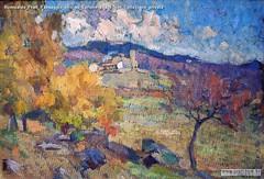 Romualdo Prati Paesaggio olio su cartone 24x35,5cm Collezione privata