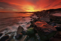 Sunrise at Crissy Field (Andrew Louie Photography) Tags: camera friends pet seascape colors field rock marina sunrise canon landscape photography golden interesting gate san francisco rocks long exposure waves expression vibrant 49ers jazz crispy burn views express califorina seacapewaves