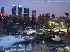 Central Park Night Pond (P1300091) (Michael.Lee.Pics.NYC) Tags: park bridge blue newyork skyline night photography pond long exposure view voigtlander stock central images hour rink getty elevated nokton wollman gapstow 175mm