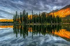 Morning Glory (Philip Kuntz) Tags: morning canada sunrise reflections dawn bravo jasper alberta pyramidmountain pyramidlake flickrsfinestimages1