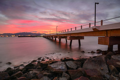 Waiting (zollatiff) Tags: ocean longexposure travel pink light sunset re