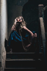 All the things you've seen will slowly fade away (Erin Watson/Abandoned Exploration) Tags: lighting old blue light shadow ohio red dusty lady stairs canon gold one midwest closed peeling paint sitting moody photographer dress boots teal steps dramatic indiana lips chain staircase blonde lipstick railing gypsy 2014 headpiece laurenelizabeth erinwatson erinwatsonphotography
