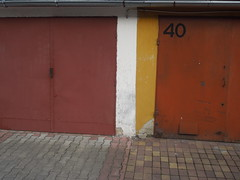 40 (Polarisdraco) Tags: red color yellow metal vintage grey doors garage 4 cement 40