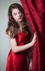 Lucy (lucrecia lee) Tags: red portrait woman girl beautiful beauty face fashion vintage bigeyes glamour waves gorgeous curtain retro blonde redlips gown graceful youngwoman reddress glamorous wavyhair fulllips the40s the30s thickeyebrows