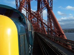 55002 crossing the Forth Bridge on the Deltic Aberdonian (colin9007) Tags: bridge light english electric infantry yorkshire class forth kings coco railtour 55 napier own deltic aberdonian 55002 d9002