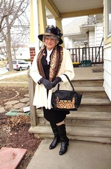 """How Do I Describe A """"Lady?"""" (Laurette Victoria) Tags: woman lady hat gray boots coat purse gloves scarf"""